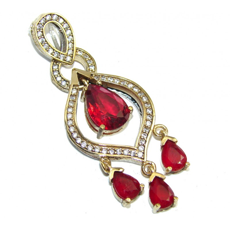 Perfect created Ruby & White Topaz Sterling Silver Pendant