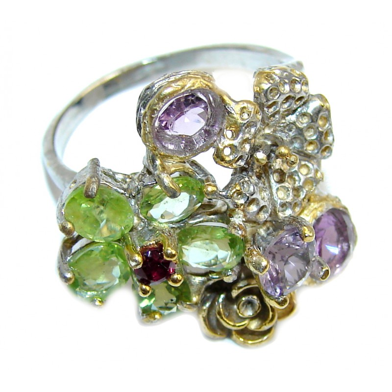 Tree Islands Genuine Multigem Rhodium Gold Plated Sterling Silver Ring s. 7 3/4