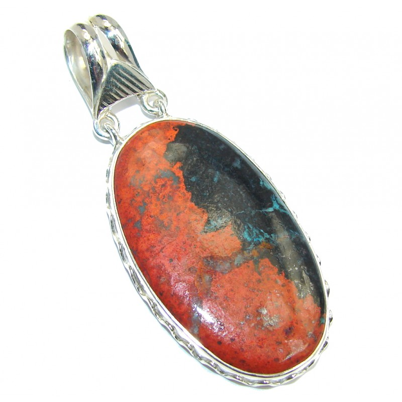 Perfect Unisex Red Creek Jasper Sterling Silver Pendant