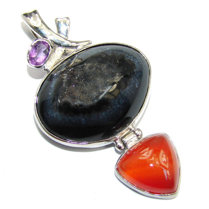 Perfect Style Black Agate Druzy Sterling Silver Pendant
