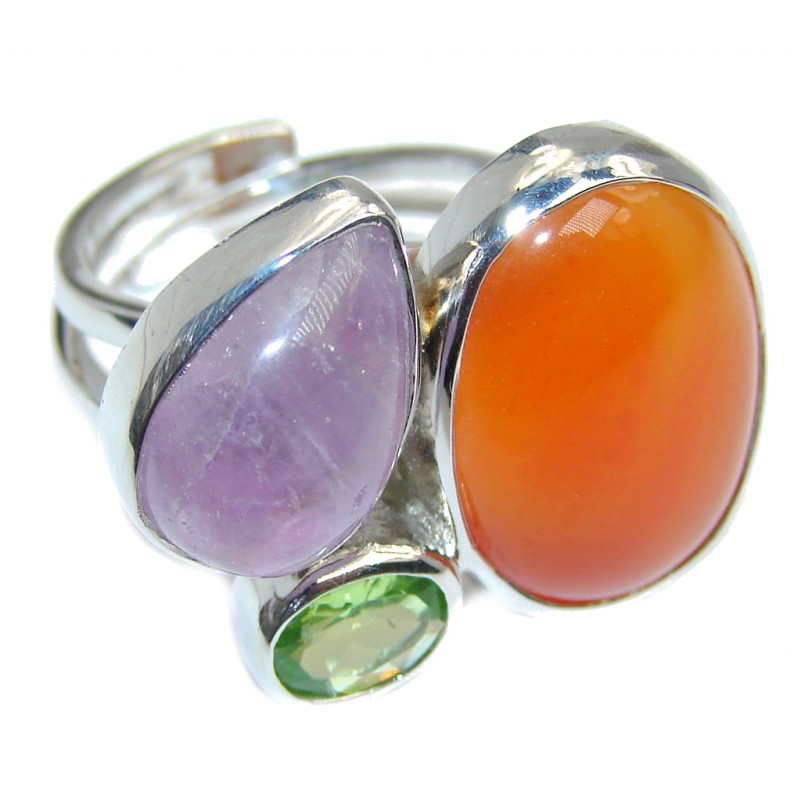 Fantastic Colorful Multistone Quartz Sterling Silver Ring s. 8 1/2 - adjustable