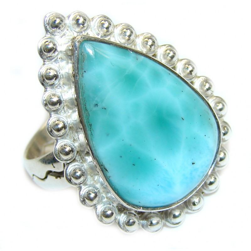 Genuine Blue Larimar Sterling Silver Ring s. 8 3/4