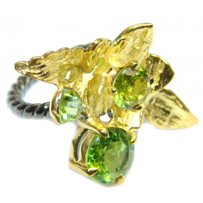 Great Style Peridot Gold Rhodium over Sterling Silver Ring s. 6 1/2