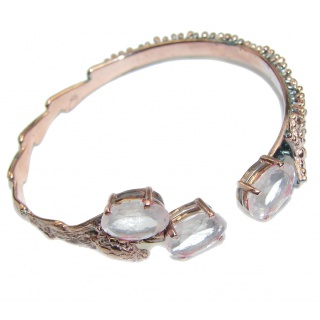Romantic Style! Rose Quartz Gold Rhodium Plated Sterling Silver Bracelet
