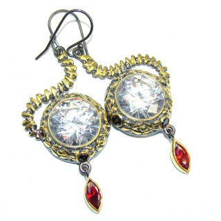 Amazing handcrafted Topaz Garnet Gold rhodium plated Sterling Silver earrings