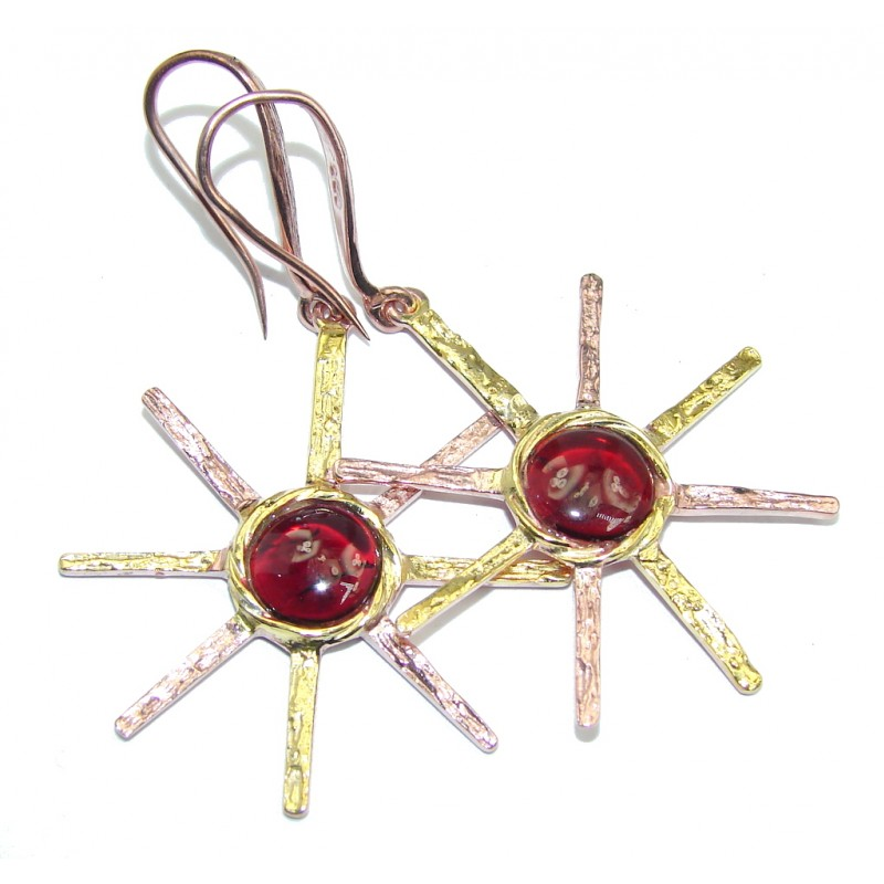 Red Flowers natural Tourmaline Sterling Silver earrings
