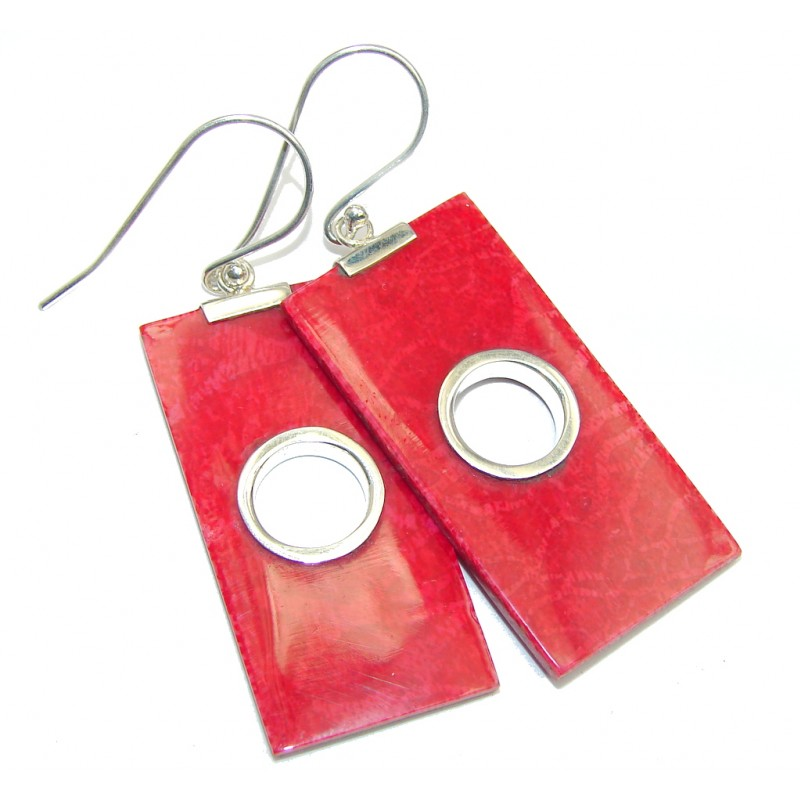 Big Fashion Red Fossilized Coral Sterling Silver earrings