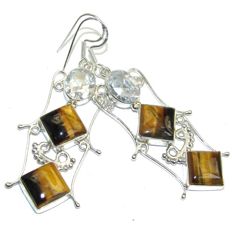 Modern Red Tigers Eye Sterling Silver Earrings