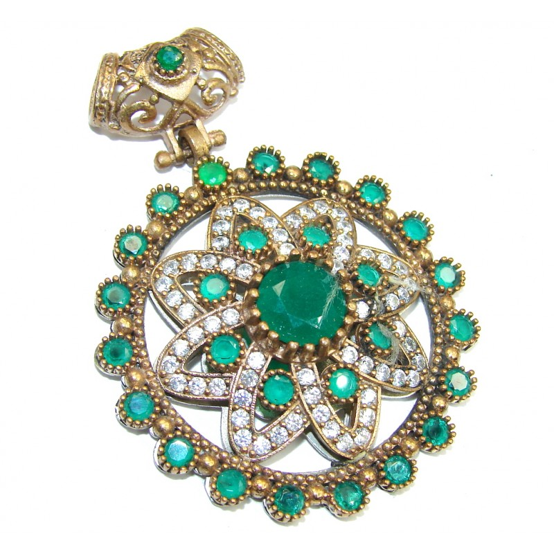 Perfect created Emerald & White Topaz Sterling Silver Pendant