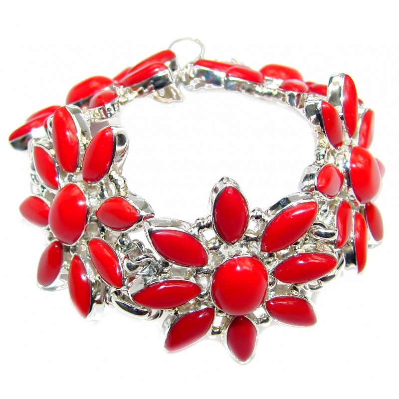Handcrafted Red created Fossilized Coral Sterling Silver Bracelet