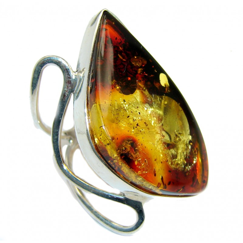 Genuine Polish Amber Sterling Silver Ring s. 8 1/2 adjustable