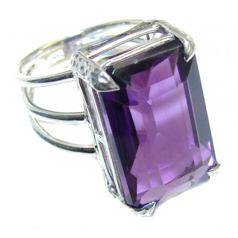 chunky aaa purple cubic zirconia sterling silver ring s