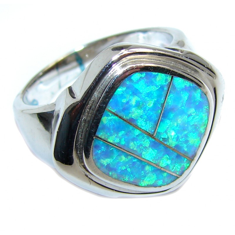 Unisex Southwest Design Japanese Fire Opal Sterling Silver ring s. 9