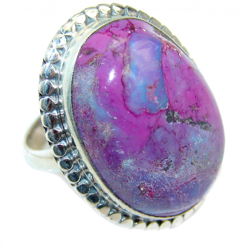 Amazing Copper Purple Turquoise Sterling Silver Ring s. 7 1/2