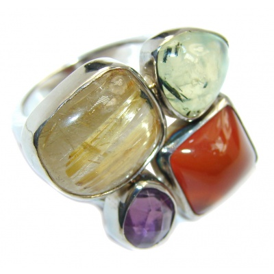 Fantastic Colorful Multistone Quartz Sterling Silver Ring s. 6
