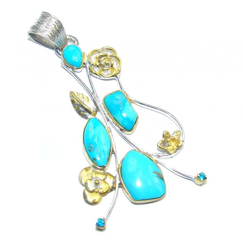 Sleeping Beauty Blue Turquoise Gold plated Sterling Silver Pendant