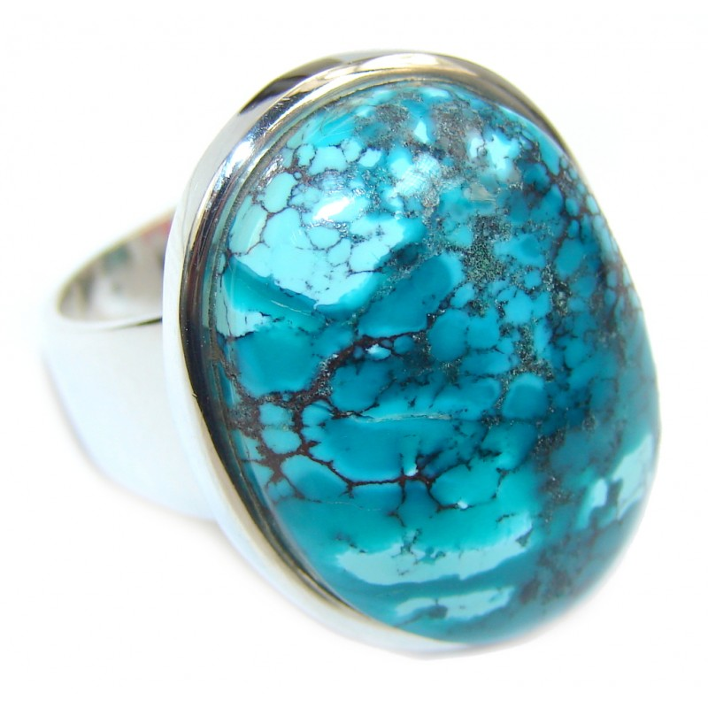Ocean Copper vains Blue Turquoise Sterling Silver Ring s. 7 1/2