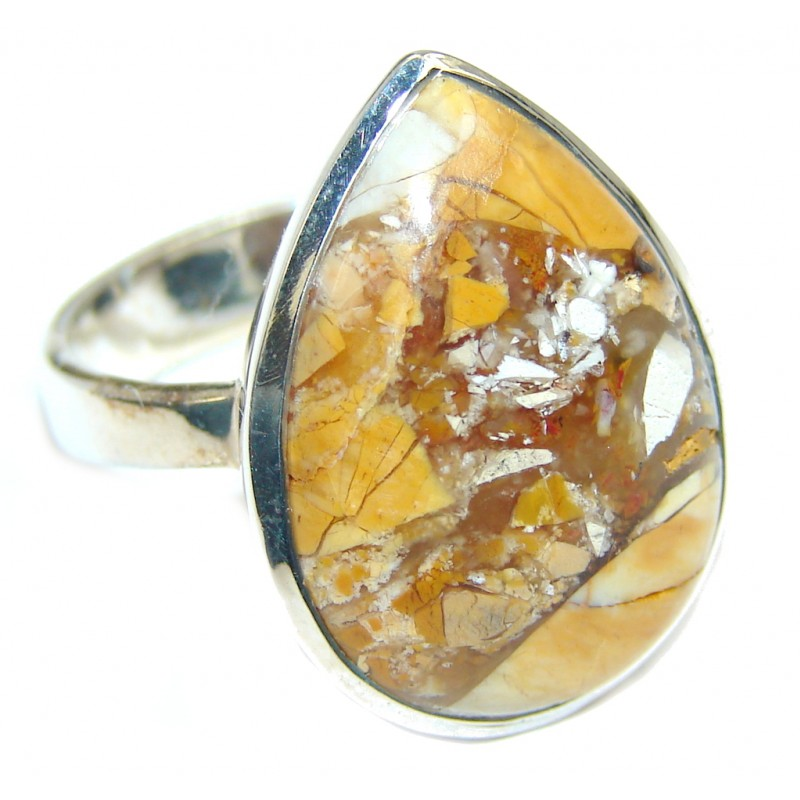 Perfect Brown Burro Creek Jasper Sterling Silver Ring s. 8 3/4