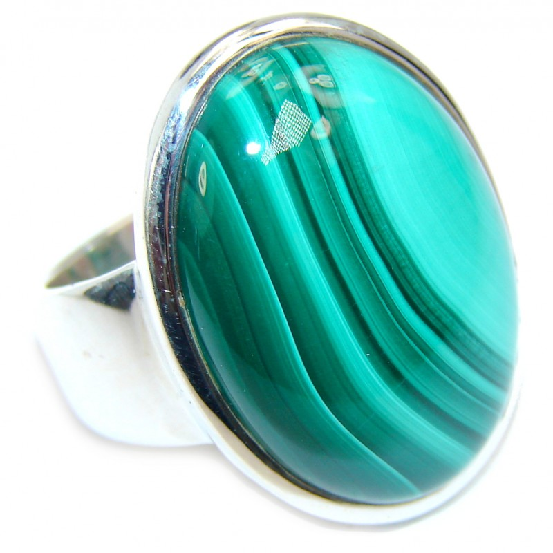 Natural AAA Green Malachite Sterling Silver ring s. 7 1/4