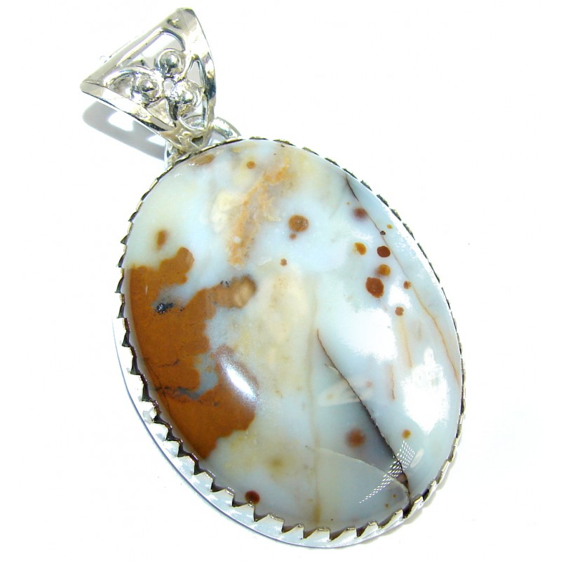 Just Perfect Gift AAA Polka Dot Agate Sterling Silver Pendant