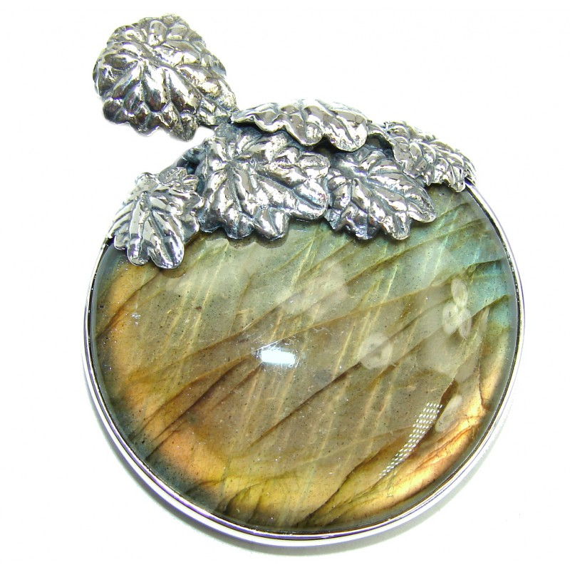 Shimmering AAA Fire Labradorite Oxidized Sterling Silver Pendant