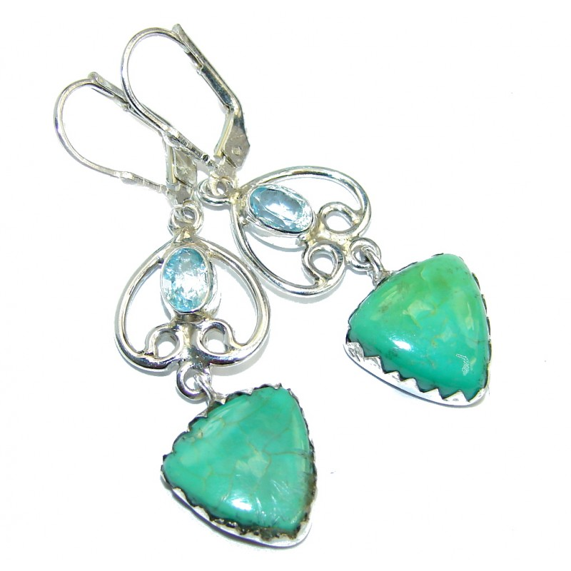 Long Lime Clover genuine Turquoise & Silver Sterling earrings