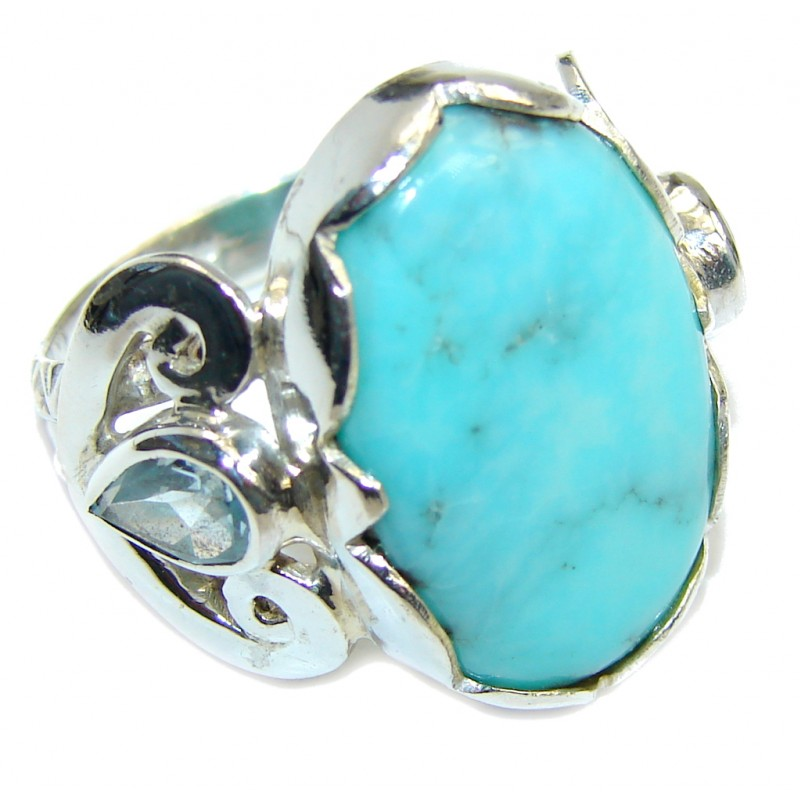 Genuine Vintage Style AAA Blue Larimar Sterling Silver Ring s. 8