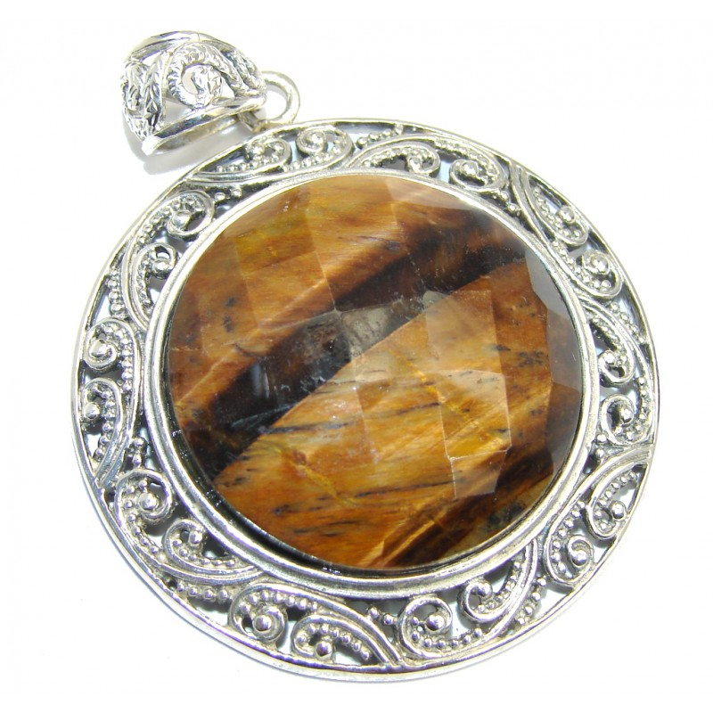 Just Glow Tigers Eye Sterling Silver Pendant