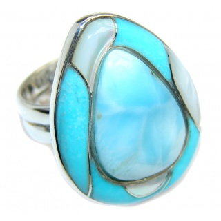 Big! Amazing AAA Blue Larimar Sterling Silver Ring s. 6
