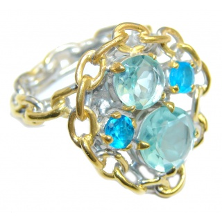 Chains Blue Topaz Rose Gold Plated, Rhodium Plated Sterling Silver Ring s. 7 3/4
