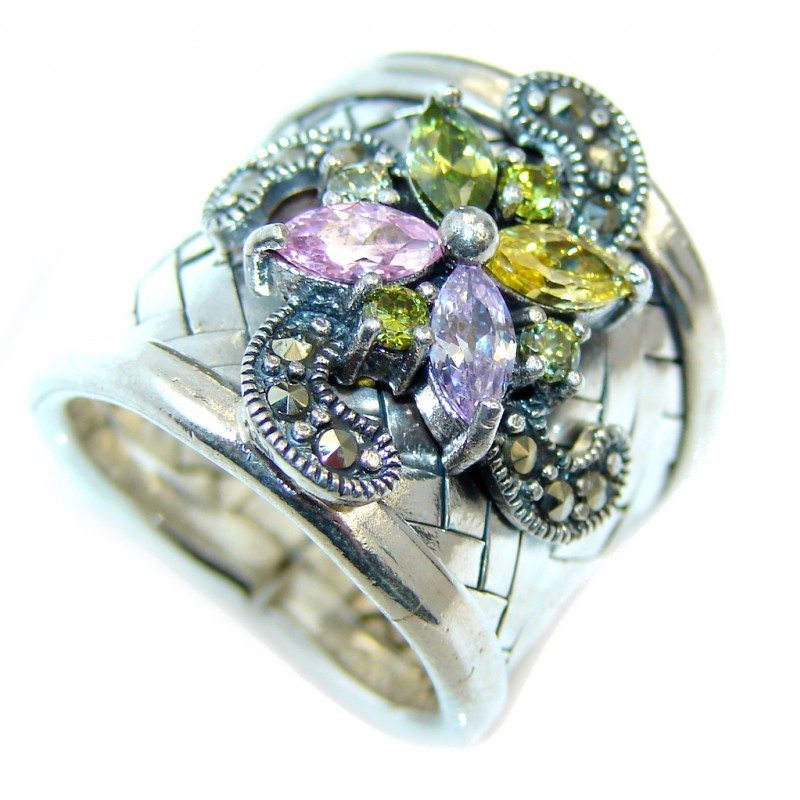 Excellend Pink Cubic Zirconia Sterling Silver Ring s. 6 1/2 adjustable