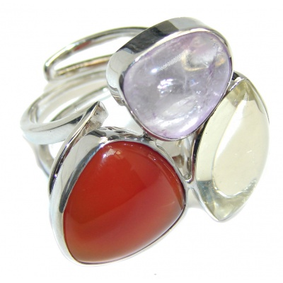 Fantastic Colorful Multistone Quartz Sterling Silver Ring s. 8 - adjustable