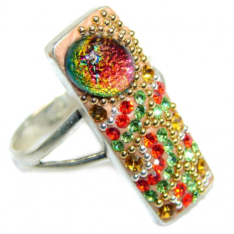 Fiesta Time Made in Mexico Silver Handcrafted Ring s. 8 1/4