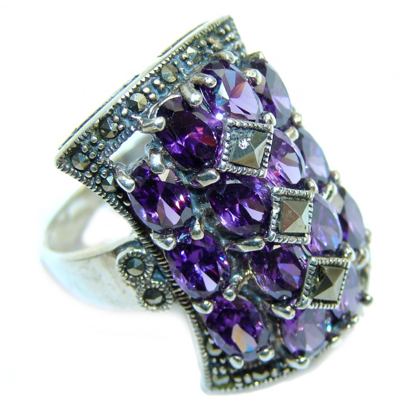 Excellend Pink Cubic Zirconia Marcasite Oxidized Sterling Silver Ring s. 8 3/4