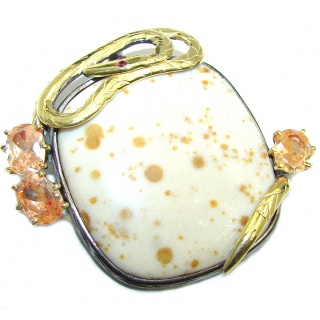 Snake Polka Dot Agate Gold Over Sterling Silver Pendant