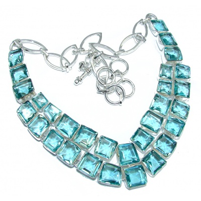 Ray Of Light created Swiss Blue Topaz Sterling Silver necklace
