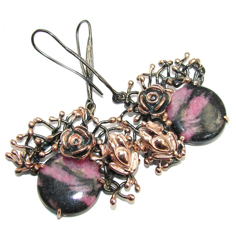 Lucky Frogs Pink Rhodonite Gold Rhodium Plated over Sterling Silver earrings / Long
