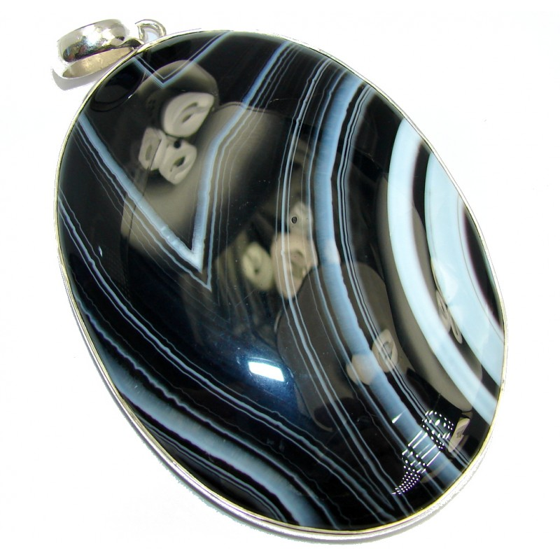 Huge 54 grams Natural AAA Black & White Botswana Agate Sterling Silver Pendant