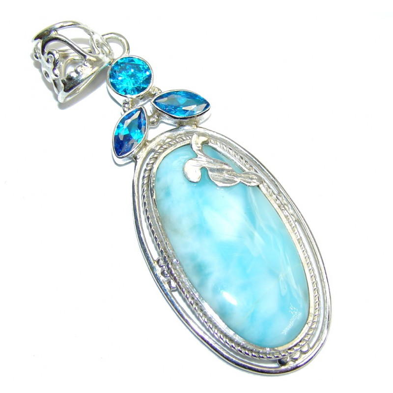 Amazing Vintage Style Blue Larimar Sterling Silver Pendant