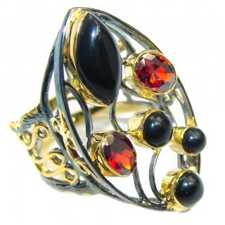 Posh Garnet Onyx Gold Rhodium plated over Sterling Silver Ring s. 8 1/2