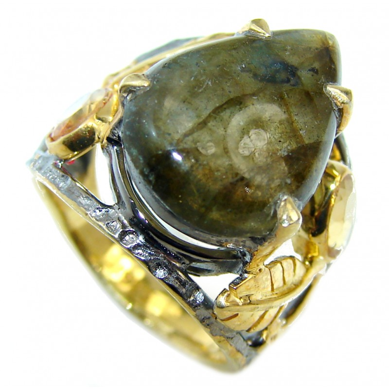 Natural AAA Fire Labradorite Gold Rhodium Plated Sterling Silver ring s. 6