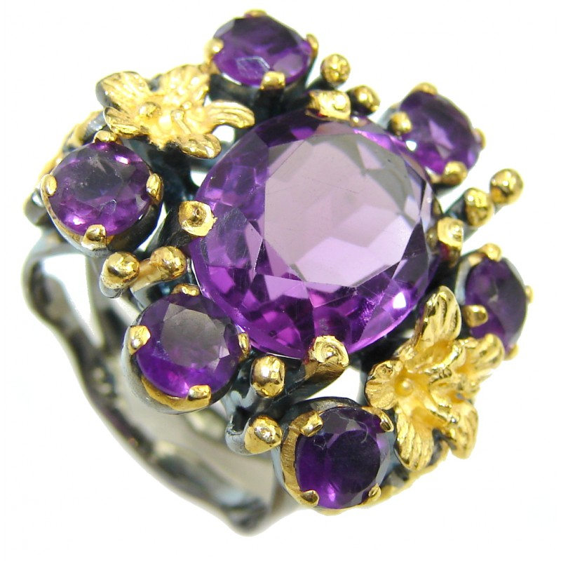 True Emotion Created Alexandrite Gold Rhodium Sterling Silver Ring s. 6
