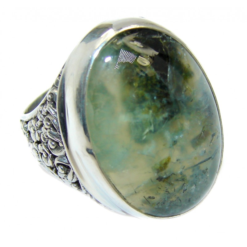 Supernova AAA+ Green Moss Prehnite Sterling Silver ring; s. 8
