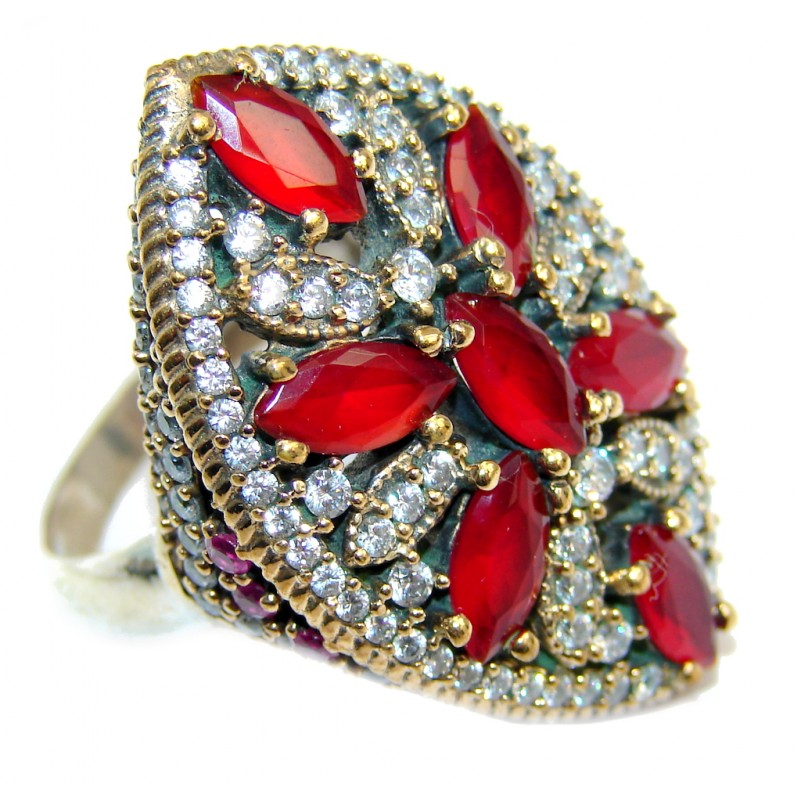 Victorian Style created Ruby & White Topaz Sterling Silver ring; s. 8 1/2