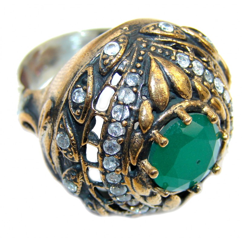 Victorian Style created Emerald & White Topaz Sterling Silver ring; s. 7