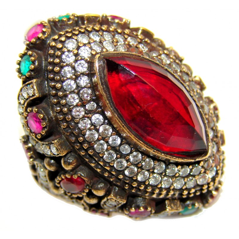 Huge Victorian Style created Ruby & White Topaz Sterling Silver ring; s. 9 1/4