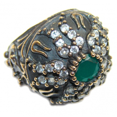 Victorian Style created Emerald & White Topaz Sterling Silver ring; s. 6