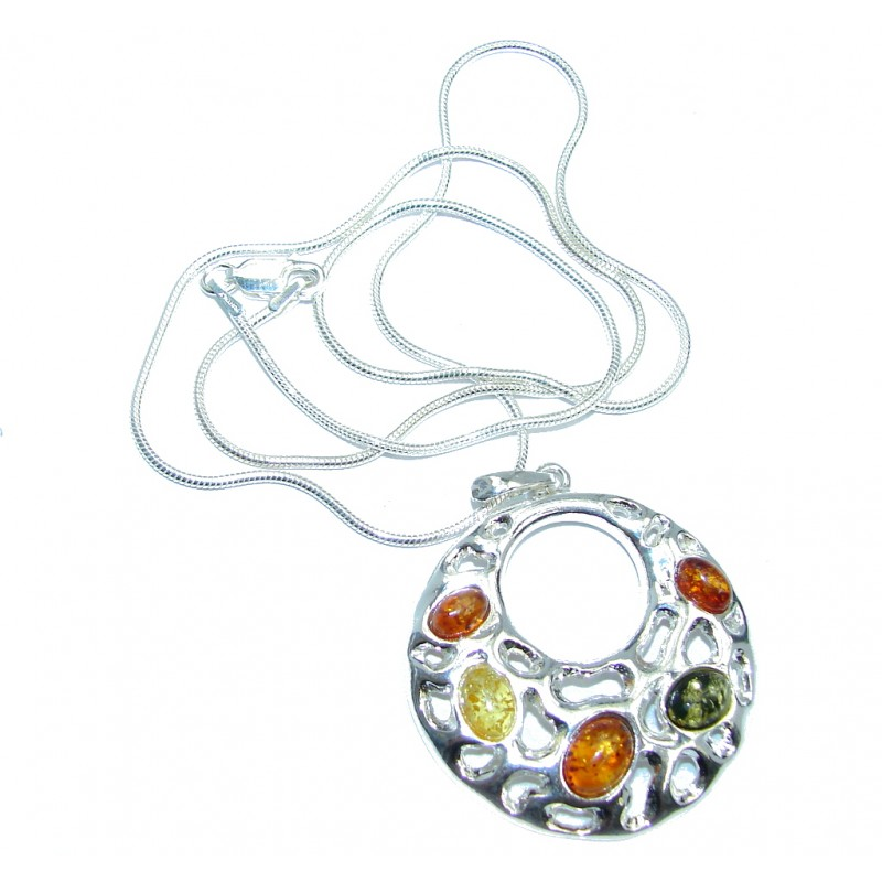 Perfect Gift! Baltic Polish Amber Sterling Silver necklace