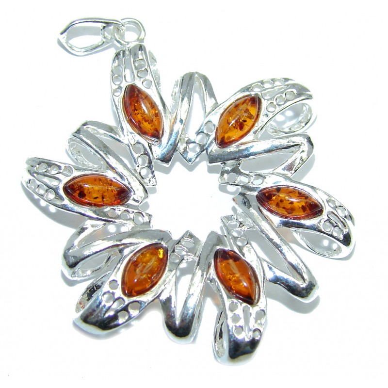 Genuine Honey Baltic Polish Amber Sterling Silver Pendant