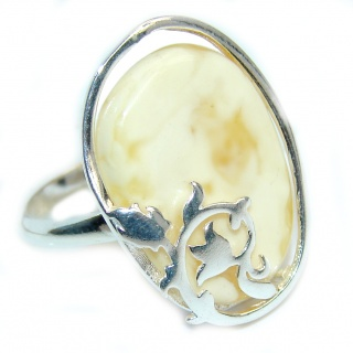 Genuine Butterscotch AAA Baltic Polish Amber Sterling Silver Ring s. 8 1/2
